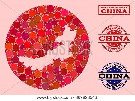 Vector Map Of Inner Mongolia Collage Of Round Items And Red Watermark Stamp. Hole Round Map Of Inner