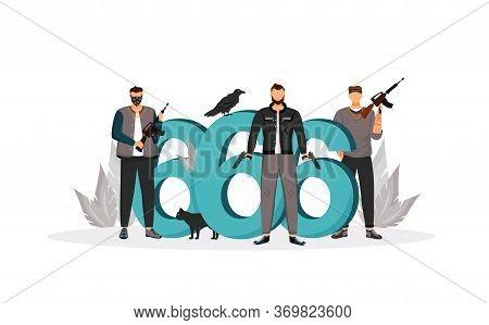 Evil Sign Flat Concept Vector Illustration. Dangerous Armed Gangsters, Criminals With Guns 2d Cartoo