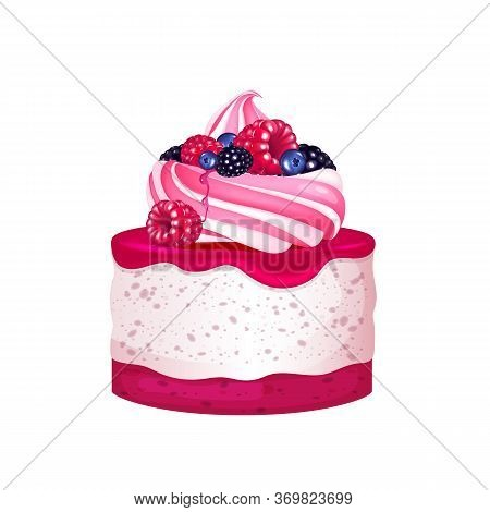 Cheesecake With Berries, Creamy Dessert Realistic Vector Illustration. Sweet Bakery, Sugary Pastry.