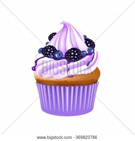 Fruit Cupcake Realistic Vector Illustration. Muffin With Berries. Baked Dessert, Sugary Pastry. Home