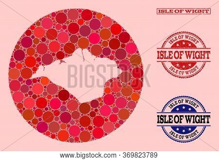 Vector Map Of Isle Of Wight Collage Of Round Blots And Red Scratched Seal. Hole Round Map Of Isle Of