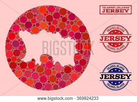 Vector Map Of Jersey Island Mosaic Of Round Spots And Red Rubber Stamp. Hole Round Map Of Jersey Isl