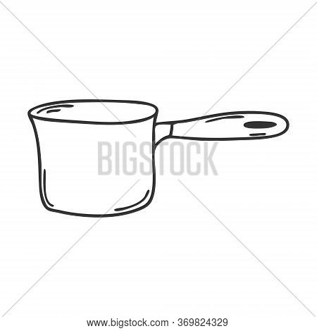 Stew-pan With Handle. Kitchen Utensils, Coolware. Design Element For Decorating Menu, Recipes, And F