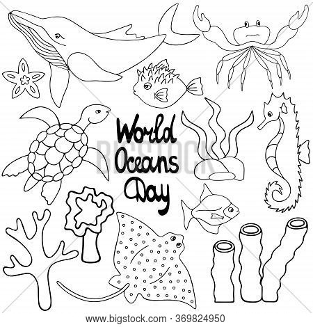 Undersea Worlds. Vector Set Of Illustrations. Outline On A White Isolated Background. The Inhabitant