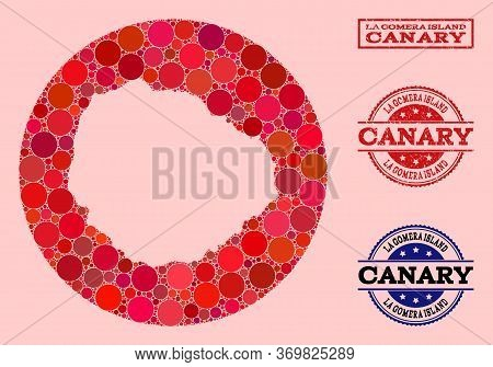 Vector Map Of La Gomera Island Collage Of Circle Items And Red Grunge Seal Stamp. Stencil Circle Map