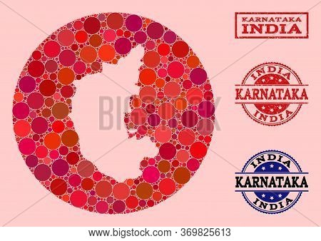 Vector Map Of Karnataka State Mosaic Of Round Blots And Red Scratched Seal. Hole Round Map Of Karnat