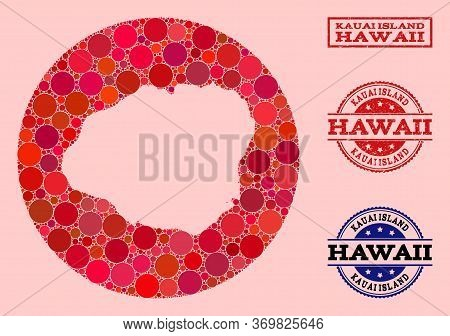 Vector Map Of Kauai Island Mosaic Of Round Elements And Red Scratched Seal. Subtraction Round Map Of