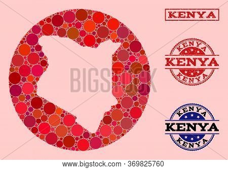 Vector Map Of Kenya Collage Of Circle Spots And Red Scratched Seal Stamp. Hole Round Map Of Kenya Co