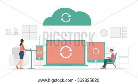 Sync Process In Progress On Cloud Storage Data With Modern Flat Style And Minimalist Green Color The