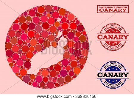 Vector Map Of Lanzarote Islands Collage Of Circle Blots And Red Rubber Seal Stamp. Hole Circle Map O