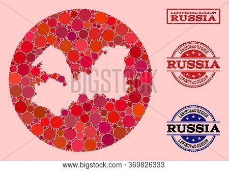 Vector Map Of Leningrad Region Collage Of Round Items And Red Grunge Seal. Stencil Circle Map Of Len