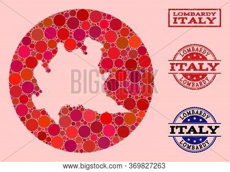 Vector Map Of Lombardy Region Collage Of Spheric Spots And Red Scratched Seal. Hole Circle Map Of Lo