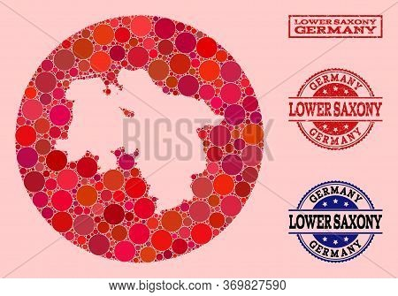 Vector Map Of Lower Saxony State Collage Of Circle Blots And Red Rubber Seal. Stencil Circle Map Of