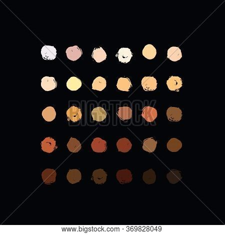 Skin Tone Color Palette Swatches. Color Palette From Dark To Light Human Skin Hair Color Tones Set.
