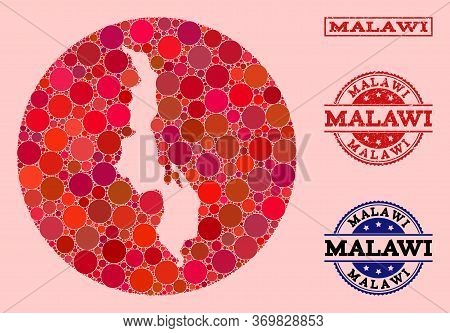 Vector Map Of Malawi Collage Of Circle Items And Red Grunge Seal Stamp. Subtraction Circle Map Of Ma