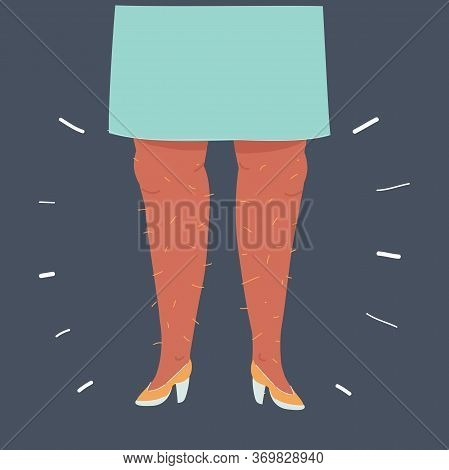 Comic Illustration Of Woman Hairy Legs, Body Positive Home Isolation.