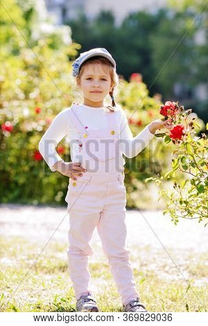 Outdoor Portrait Of A Cute Little Girl Near The Roses Bush