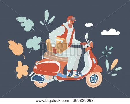 Courier Riding Scooter Fulfilling Contactless Express Delivery Of Consumer Goods.