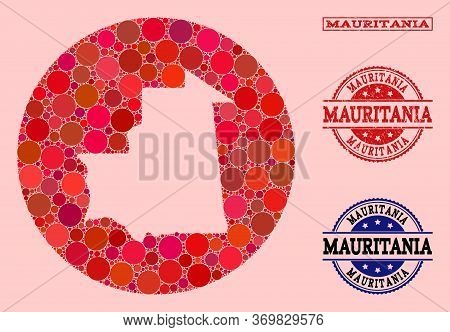 Vector Map Of Mauritania Mosaic Of Round Items And Red Rubber Seal Stamp. Subtraction Round Map Of M