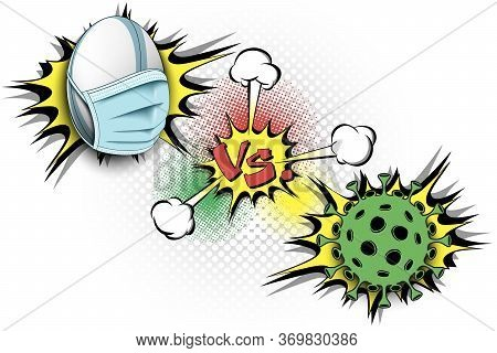 Banner Rugby Vs Covid-19. Rugby Ball With A Protection Mask Against Coronavirus Sign. Cancellation O