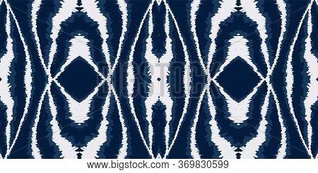 Cloud Shibori Bohemian Vector Seamless Pattern. Japan Graphic Chevron Ornament. Rustic Ethnic Print.