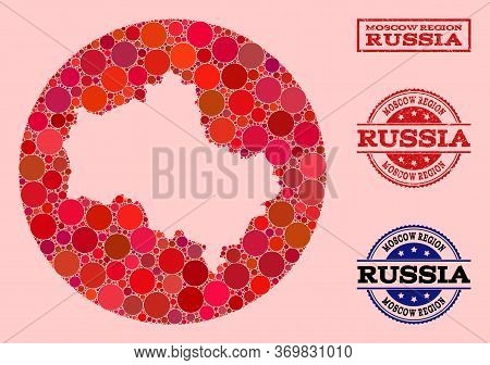 Vector Map Of Moscow Region Collage Of Circle Elements And Red Scratched Seal. Subtraction Circle Ma