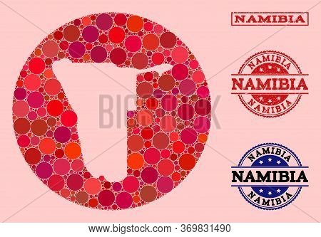 Vector Map Of Namibia Collage Of Round Items And Red Scratched Stamp. Hole Round Map Of Namibia Coll