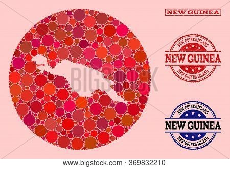 Vector Map Of New Guinea Island Collage Of Spheric Dots And Red Watermark Seal Stamp. Hole Round Map