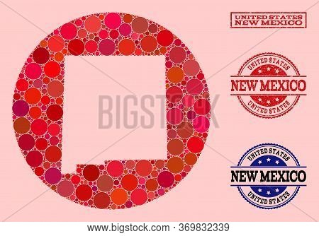 Vector Map Of New Mexico State Collage Of Circle Spots And Red Scratched Seal Stamp. Stencil Circle