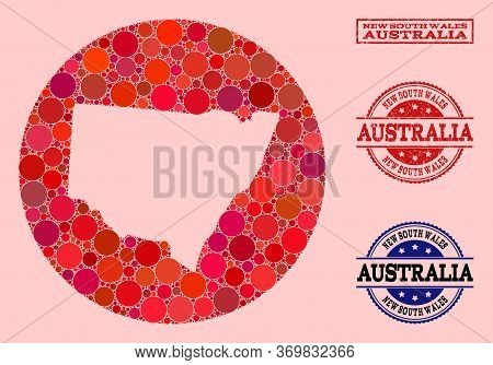 Vector Map Of New South Wales Collage Of Circle Items And Red Grunge Seal Stamp. Stencil Circle Map