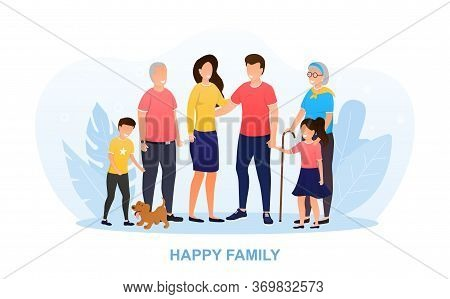 Happy Big Family Standing Together. Happy Family Time Of Father, Mother, Children, Grandmother, Gran