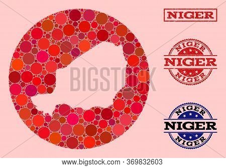 Vector Map Of Niger Mosaic Of Round Elements And Red Rubber Seal Stamp. Stencil Round Map Of Niger C