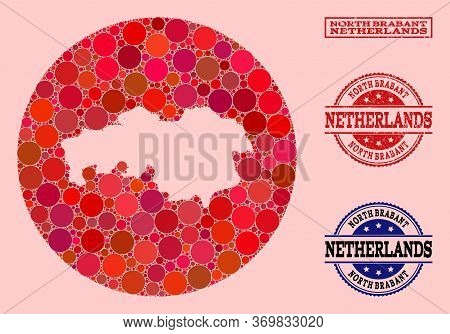 Vector Map Of North Brabant Province Collage Of Circle Dots And Red Watermark Seal. Hole Circle Map