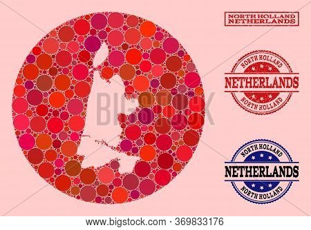 Vector Map Of North Holland Collage Of Circle Elements And Red Watermark Seal. Subtraction Circle Ma