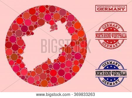 Vector Map Of North Rhine-westphalia State Collage Of Round Items And Red Scratched Seal Stamp. Hole