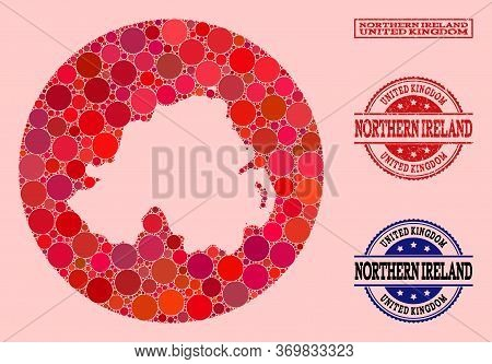 Vector Map Of Northern Ireland Mosaic Of Circle Elements And Red Watermark Seal Stamp. Hole Round Ma