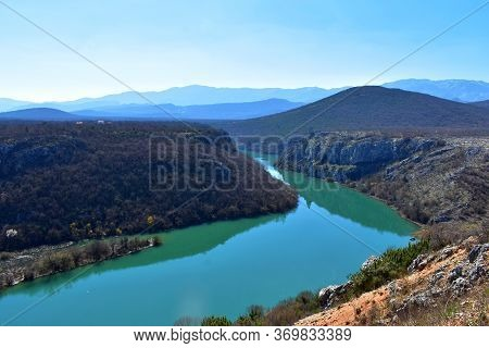 River Canyon Under The White Clouds And Beautiful Sky/ Beautiful Landscape Nature Photography/ River