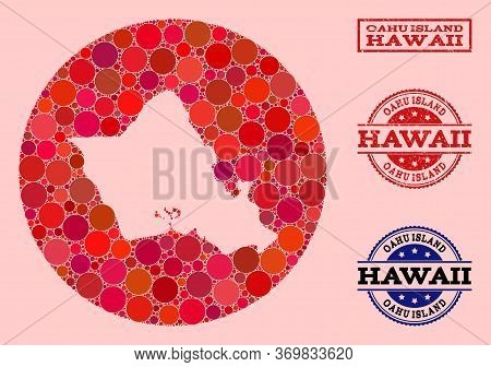 Vector Map Of Oahu Island Collage Of Spheric Blots And Red Rubber Seal. Hole Circle Map Of Oahu Isla
