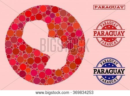 Vector Map Of Paraguay Collage Of Circle Spots And Red Scratched Seal. Hole Circle Map Of Paraguay C