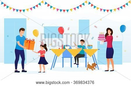 Kid Birthday Celebration With Family Concept. Parents Congratulate The Birthday Girl And Give A Birt