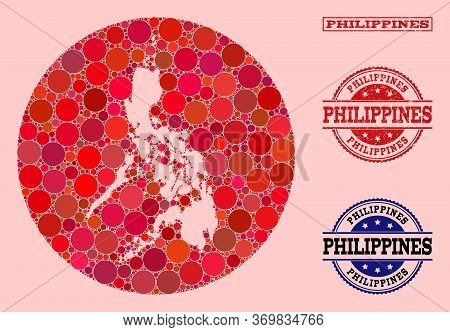 Vector Map Of Philippines Collage Of Spheric Elements And Red Scratched Seal Stamp. Stencil Round Ma
