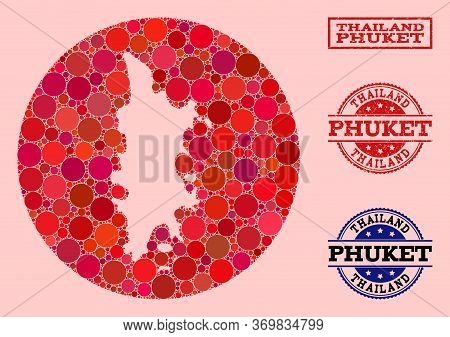 Vector Map Of Phuket Collage Of Round Elements And Red Watermark Seal Stamp. Subtraction Circle Map