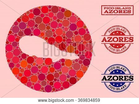 Vector Map Of Pico Island Collage Of Round Dots And Red Grunge Seal Stamp. Hole Round Map Of Pico Is