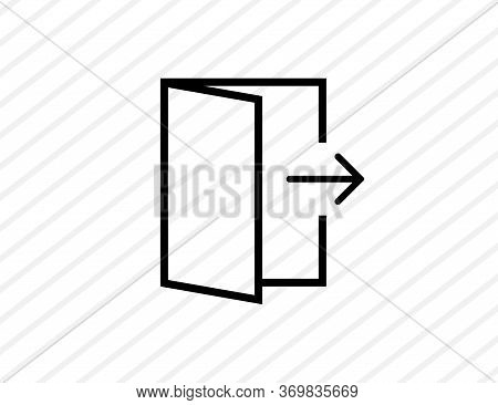Exit Sign Icon. Isolated Escape Symbol. Opened Doors With Arrows. Outline Simple Design. Doorway Sil