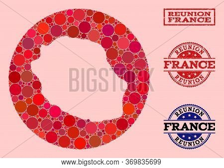Vector Map Of Reunion Island Collage Of Circle Spots And Red Rubber Seal. Stencil Circle Map Of Reun