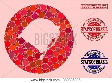 Vector Map Of Rio Grande Do Sul State Mosaic Of Round Dots And Red Grunge Seal Stamp. Subtraction Ro