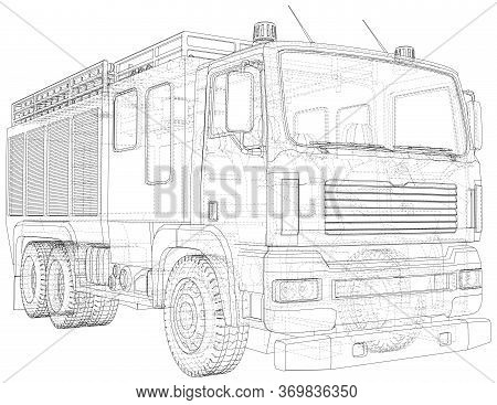Fire Truck. Fire Engine Vector Illustration. Wire-frame Line Isolated. Vector Rendering Of 3d