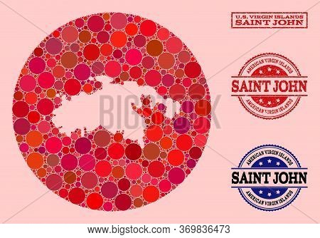 Vector Map Of Saint John Island Collage Of Circle Dots And Red Grunge Seal. Stencil Round Map Of Sai