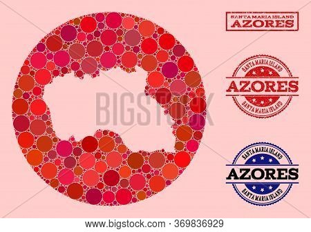Vector Map Of Santa Maria Island Collage Of Round Spots And Red Scratched Stamp. Subtraction Round M