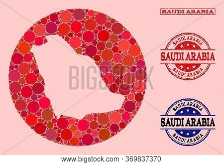 Vector Map Of Saudi Arabia Collage Of Circle Blots And Red Rubber Seal Stamp. Subtraction Circle Map